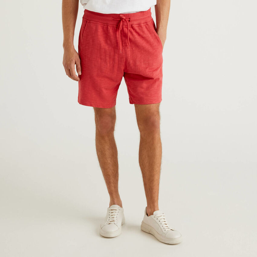 Fleece bermudas with drawstring