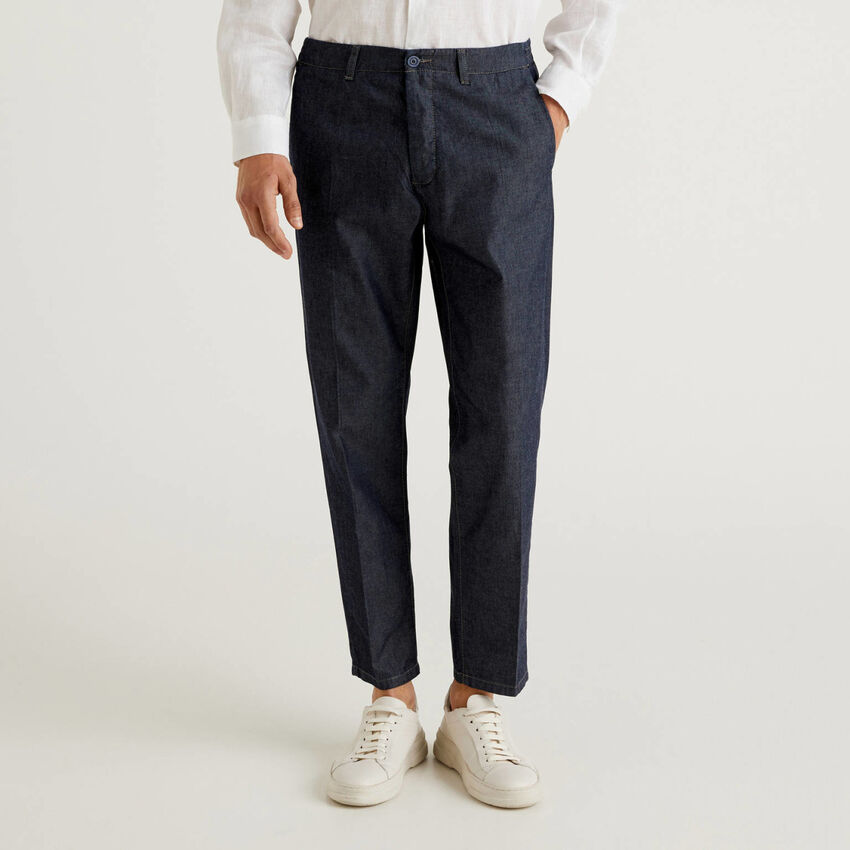 Trousers in cotton chambray