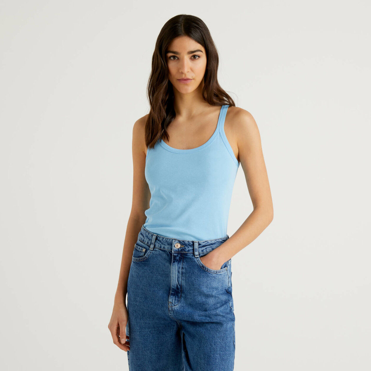 Sky blue tank top in pure cotton