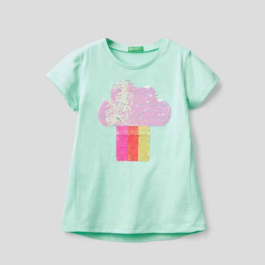 Cotton t-shirt with sequins