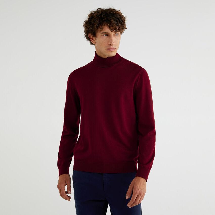 Turtleneck in pure Extra Fine Merino wool