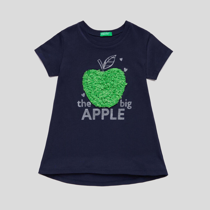 T-shirt with print and embroidery