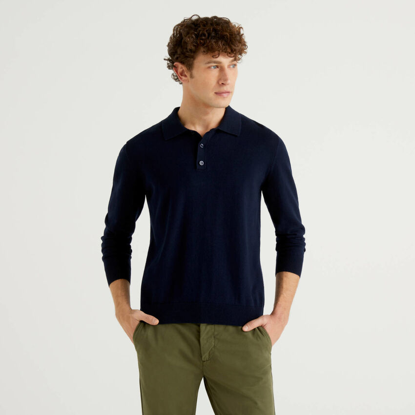 Cashmere and cotton blend polo