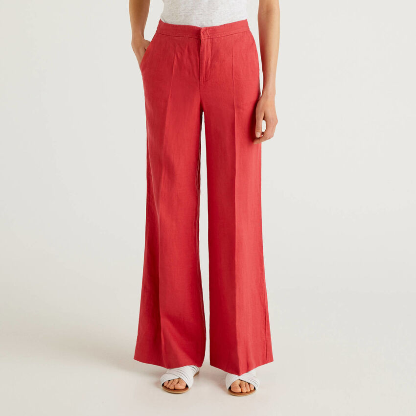 Palazzo trousers in 100% linen