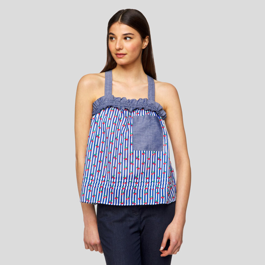 Printed top with straps