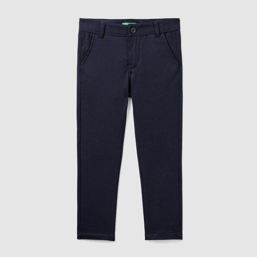 Slim fit jacquard trousers