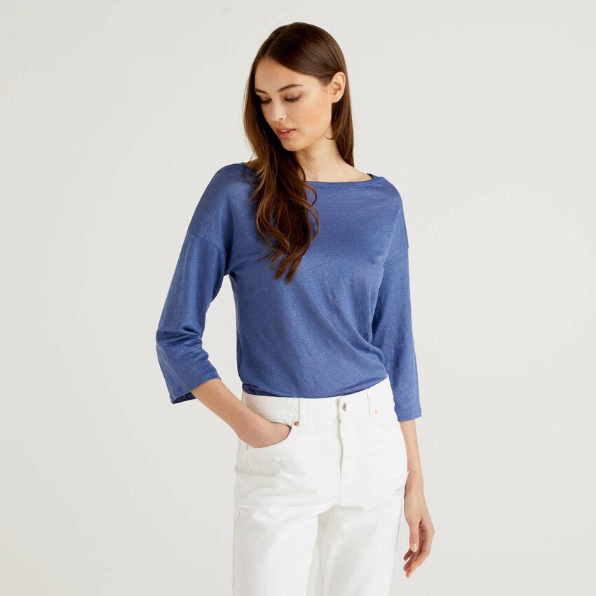 3/4 sleeve t-shirt in 100% linen
