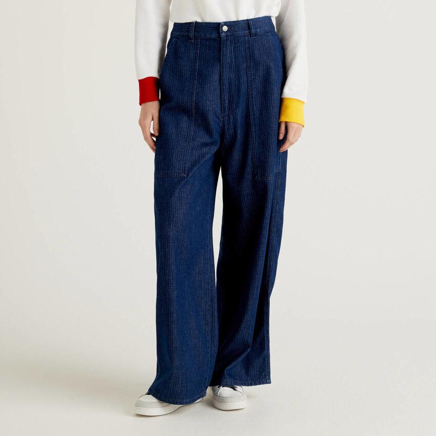 Loose fit herringbone jean trousers