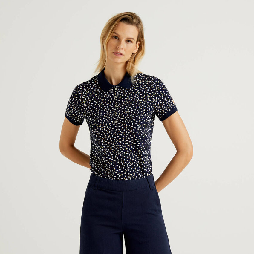 Printed polo in stretch cotton