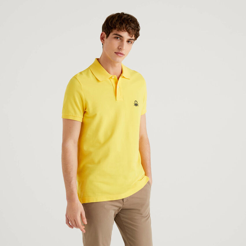 Yellow slim fit polo