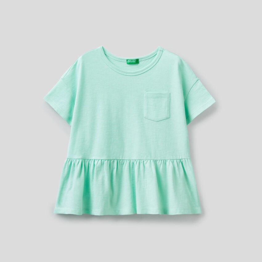 T-shirt in pure cotton with frill
