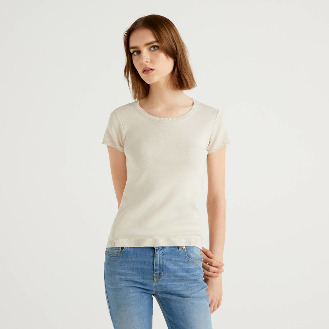 Short sleeve cotton sweater