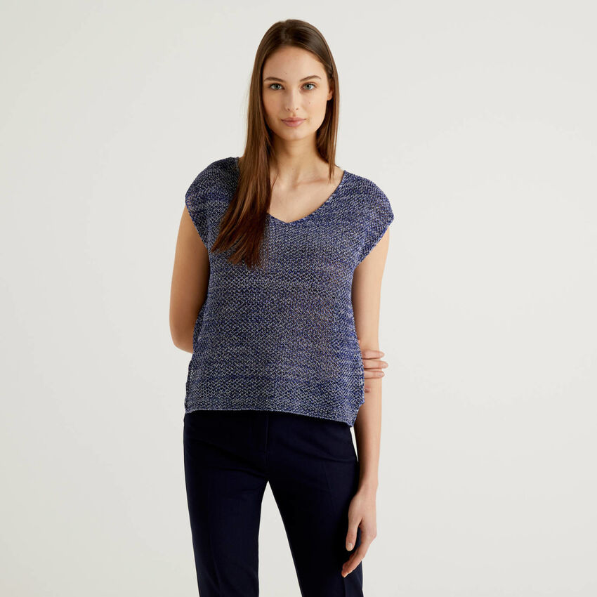 Mesh knit sweater in 100% cotton