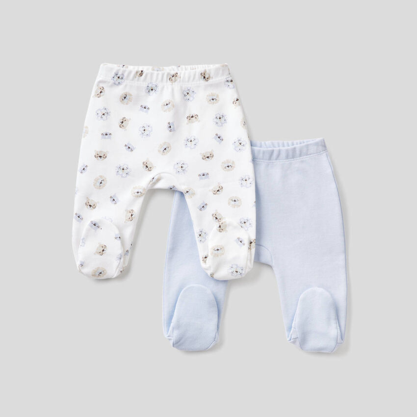 Two pairs of stirrup trousers in organic cotton