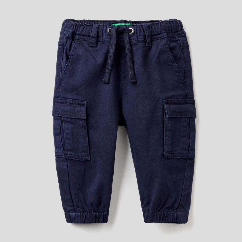 Stretch cotton cargo trousers