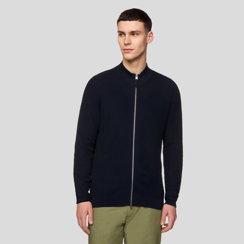 Turtleneck cardigan with zipper