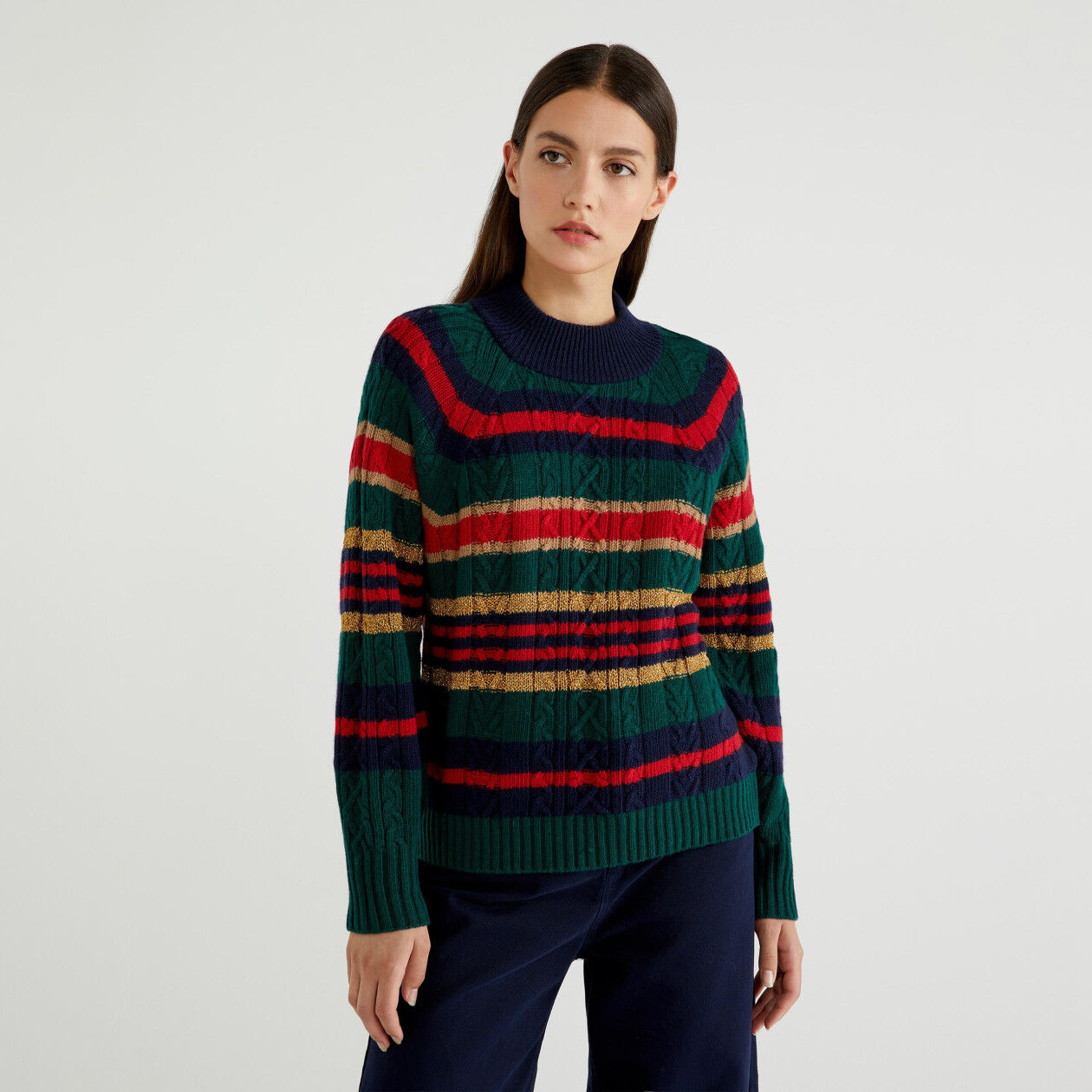 Sweater with stripes and lurex