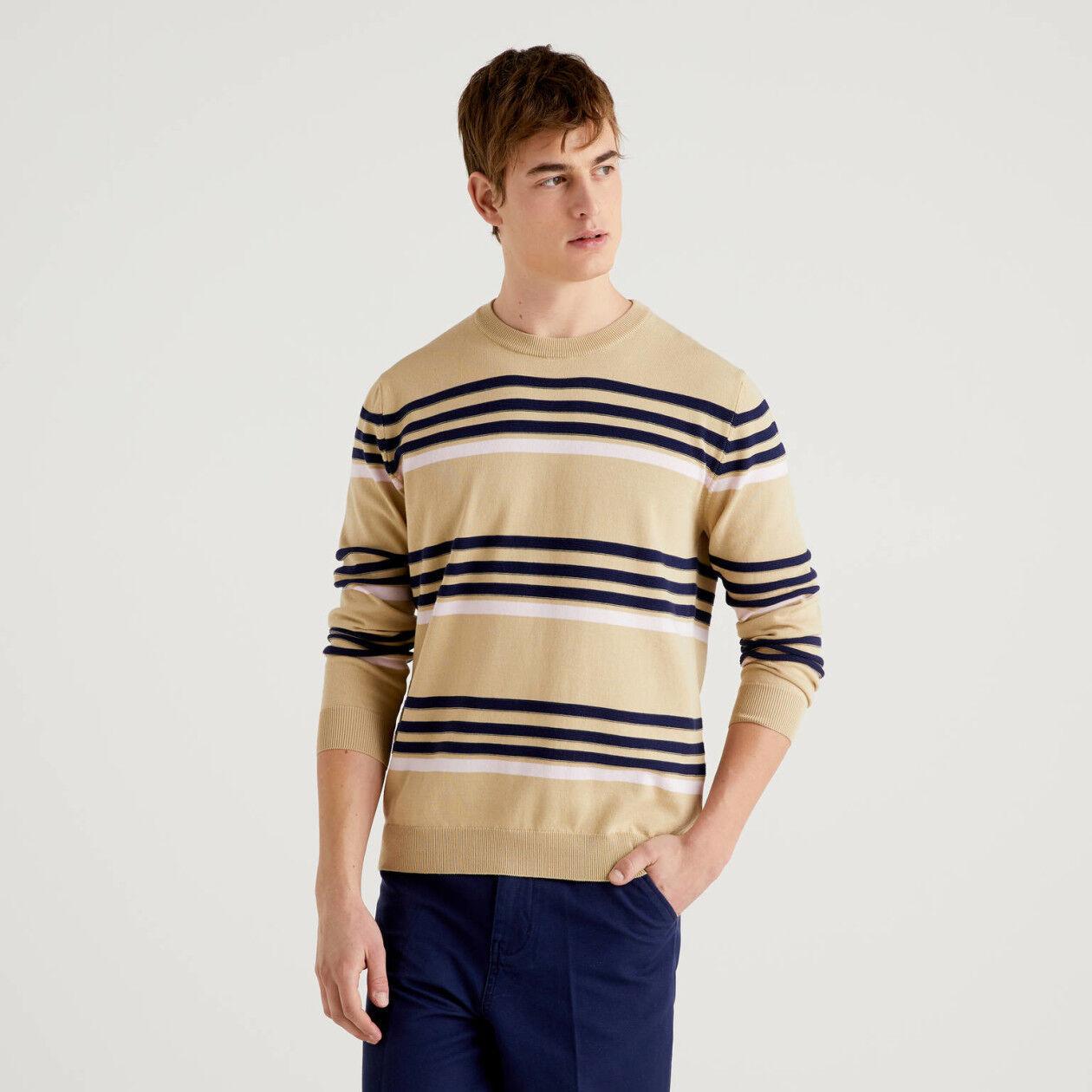 Striped sweater in pure cotton