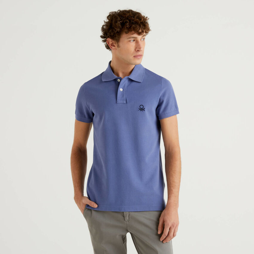 Air force blue slim fit polo