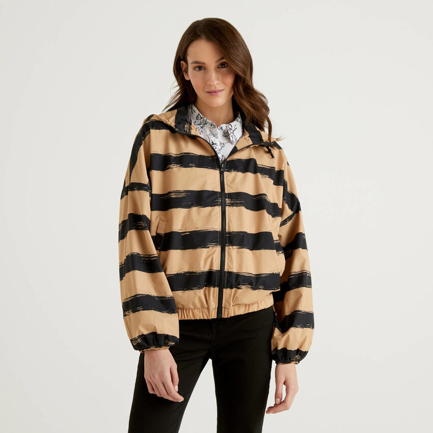 Striped jacket with hood