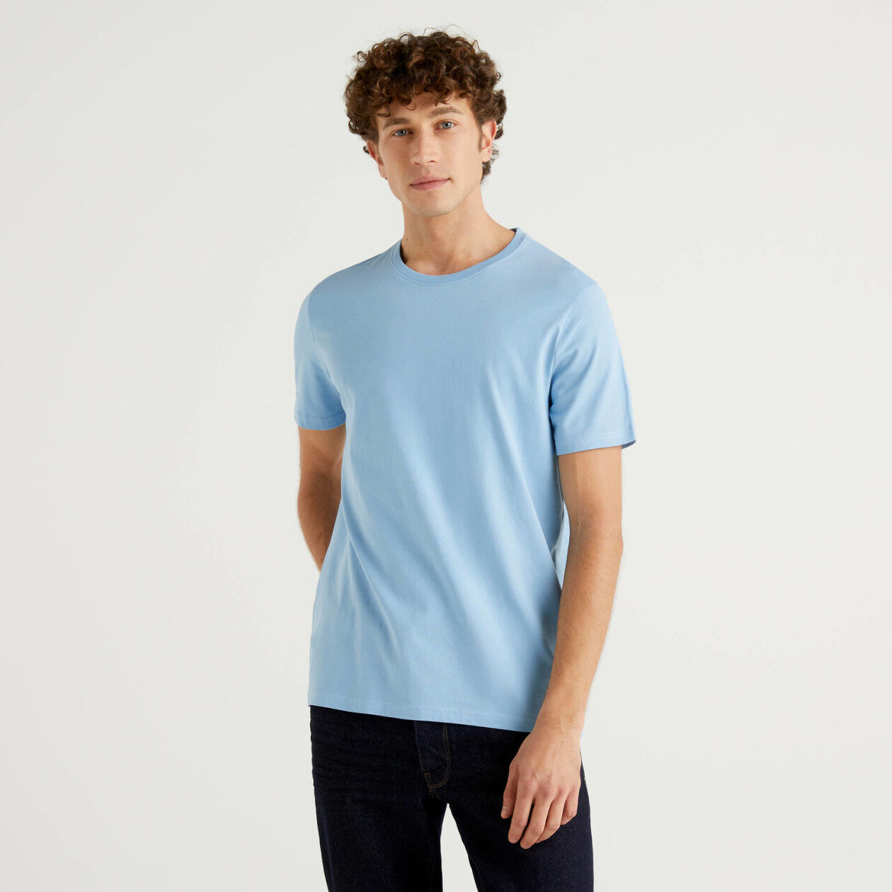 Sky blue t-shirt in pure cotton
