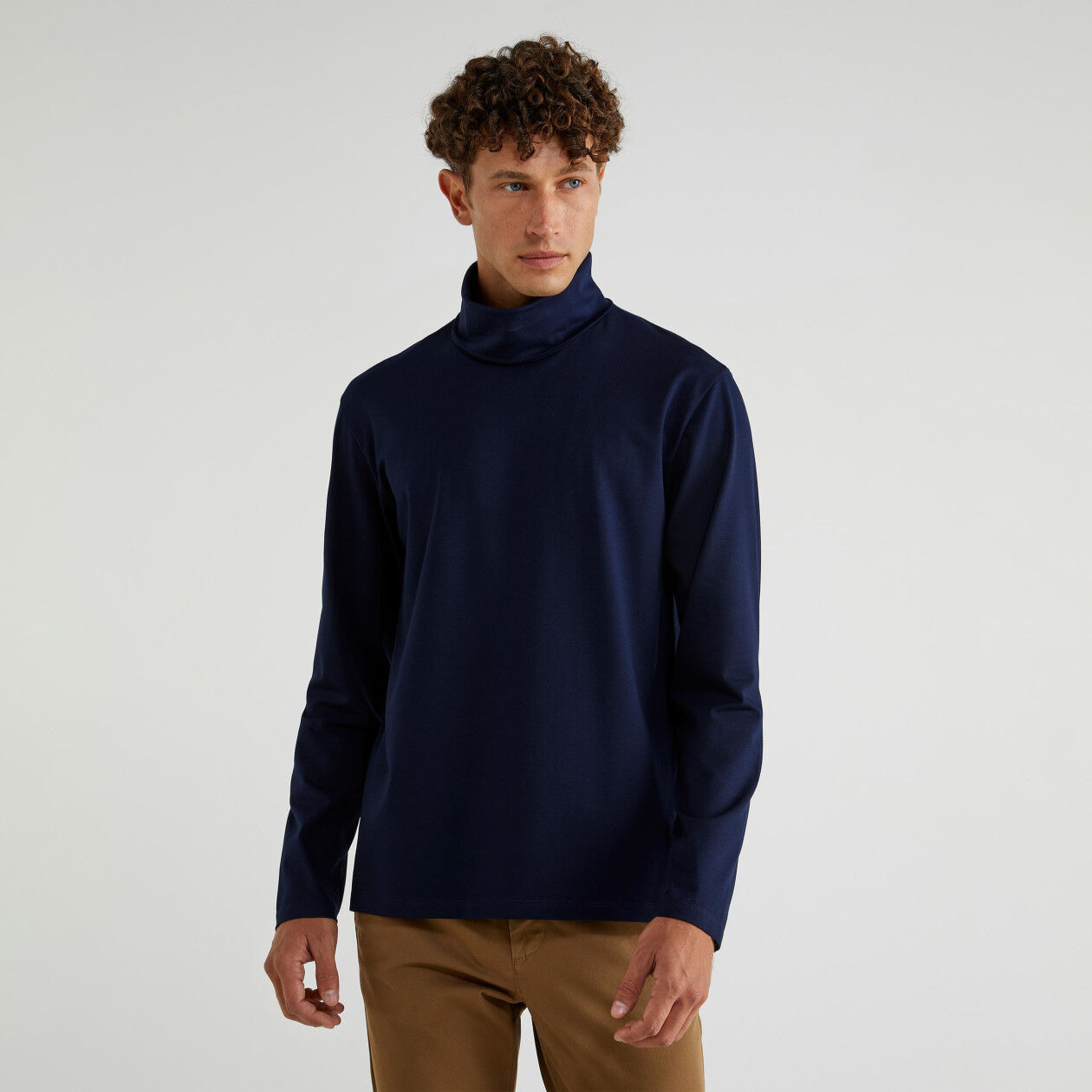 High neck sweater in jersey