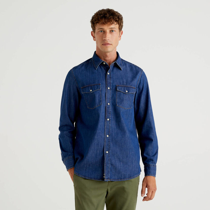 Jean shirt in pure cotton