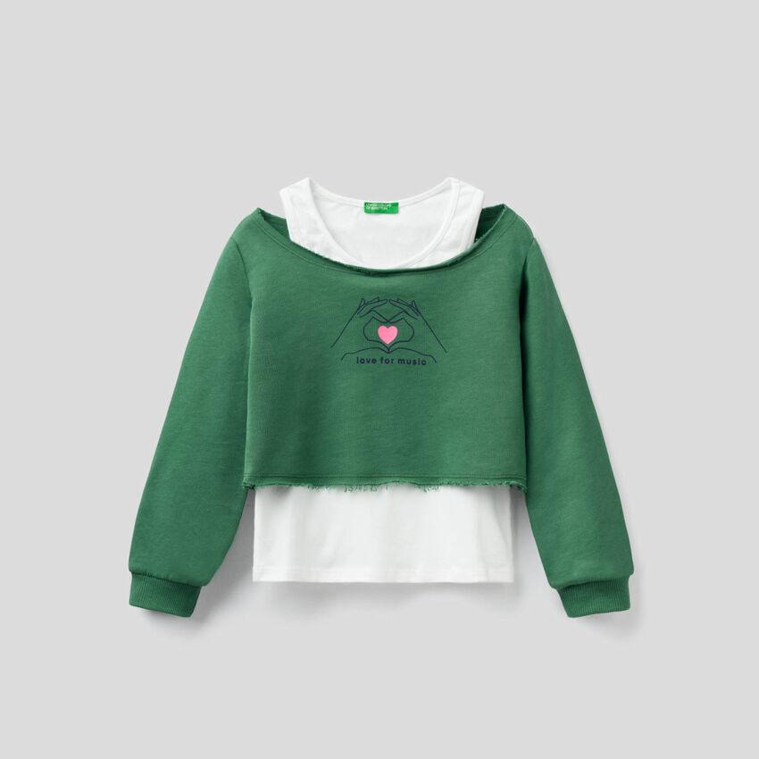Double layer sweatshirt with tank top