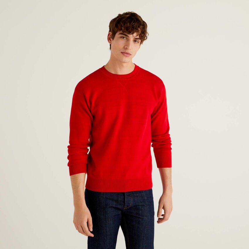 Reversible sweater in tricot cotton