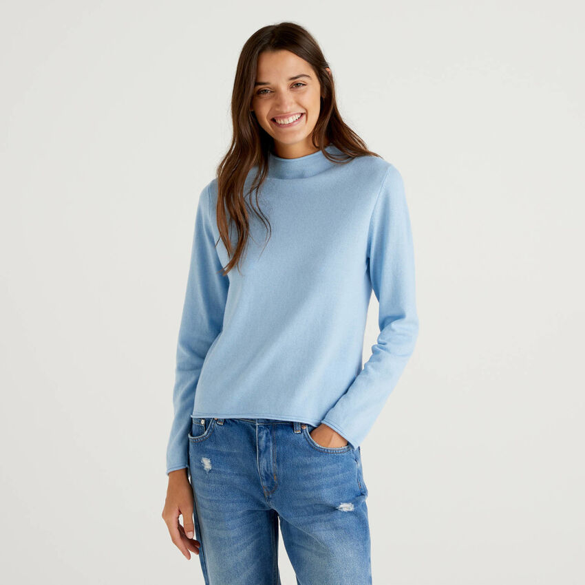 Solid colored turtleneck sweater
