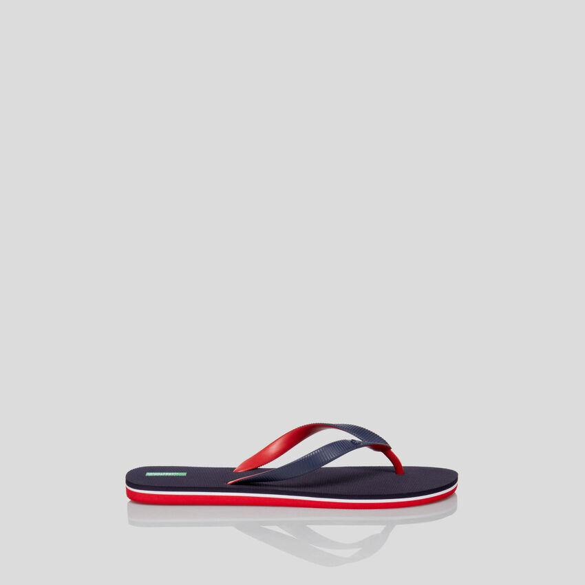 Dark blue flip-flops
