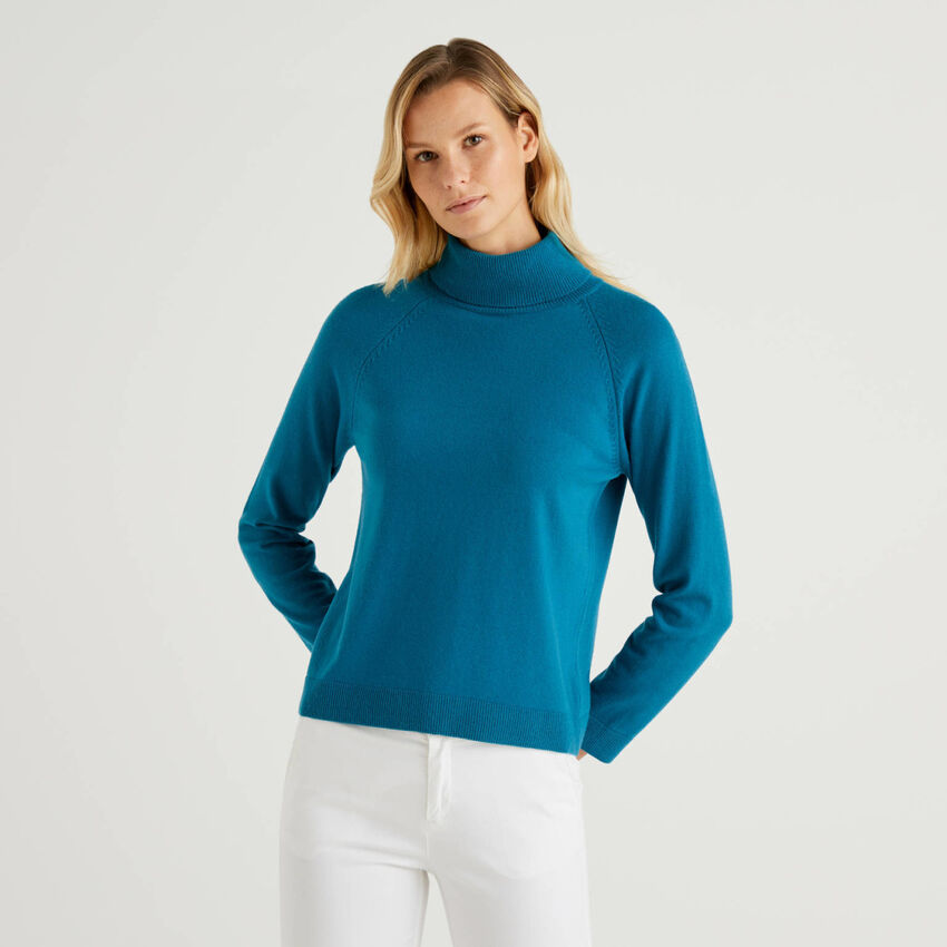 Teal turtleneck sweater in cashmere and wool blend