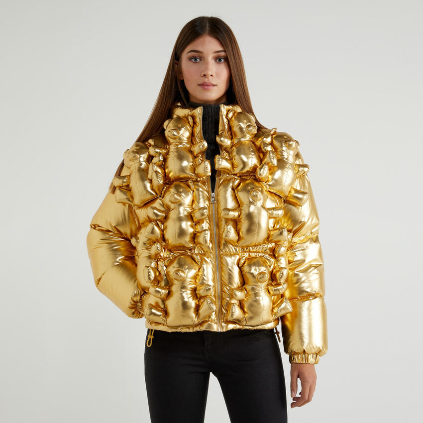 Puffer jacket with teddy bears