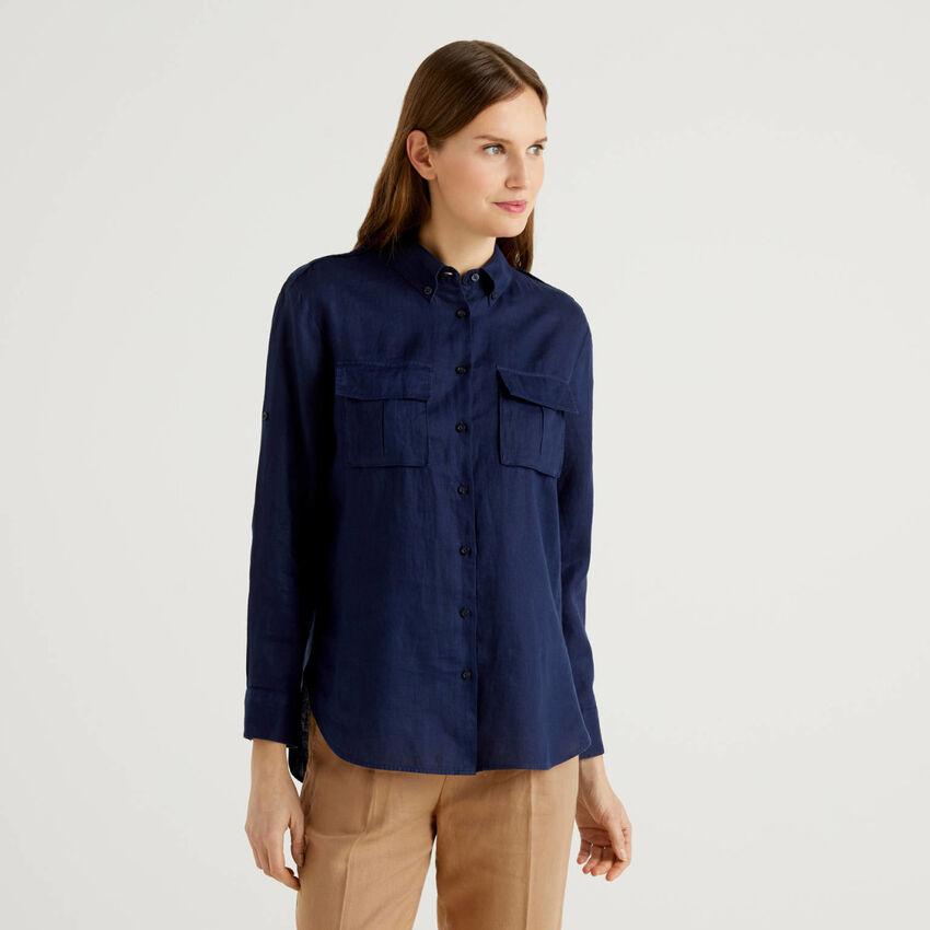 Button-down shirt in pure linen