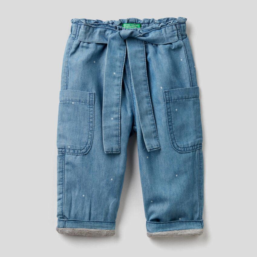 Light denim cargo trousers