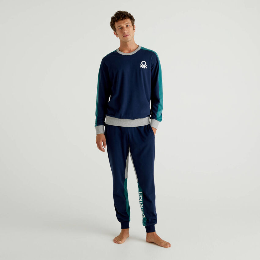 Cotton pyjamas with logo bands