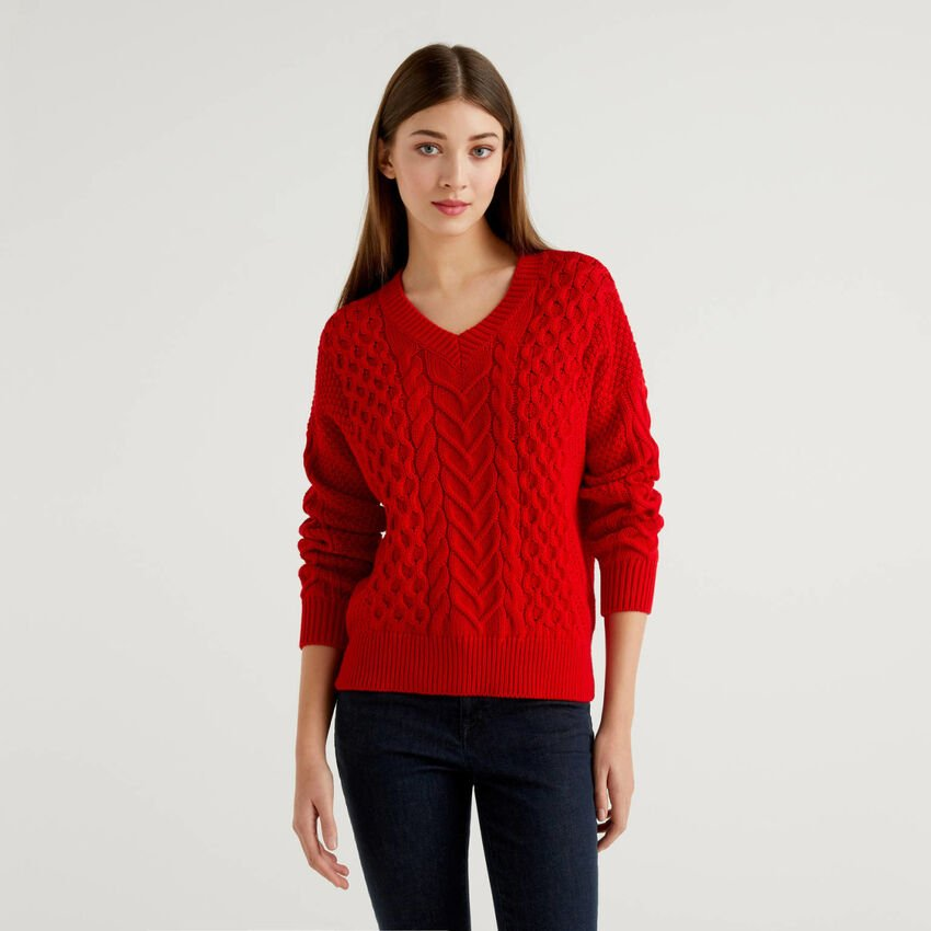 Knit sweater in pure cotton