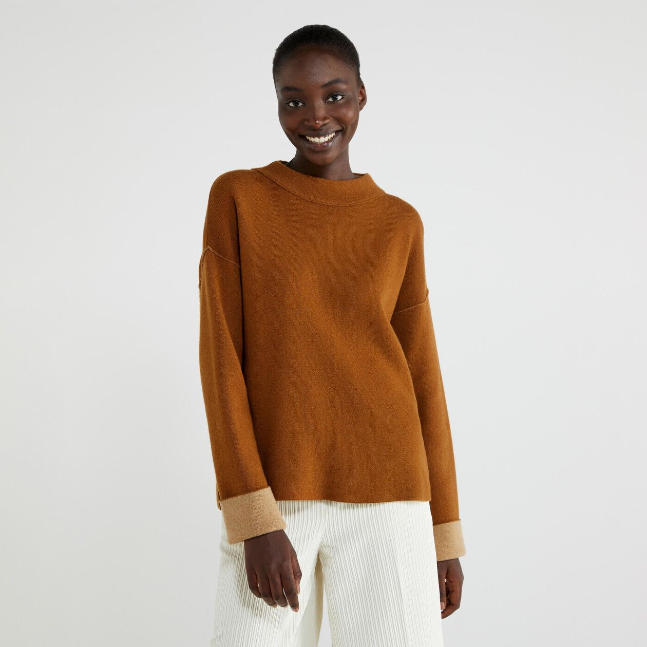 Reversible turtleneck sweater