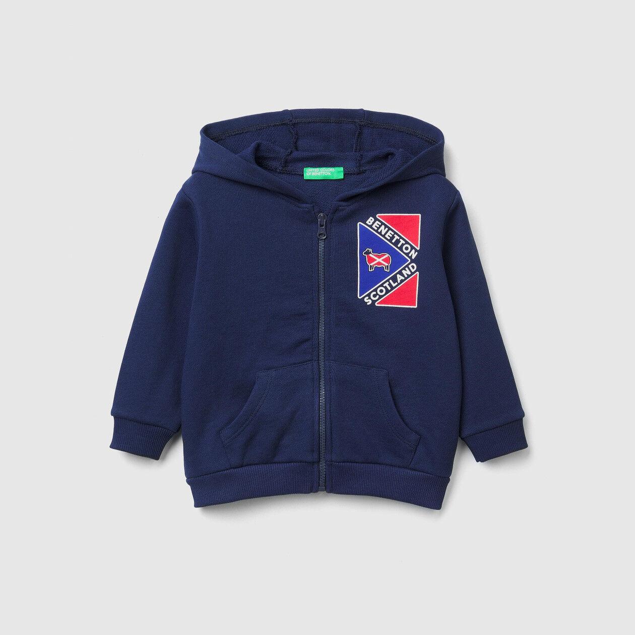Zip-up sweatshirt with print