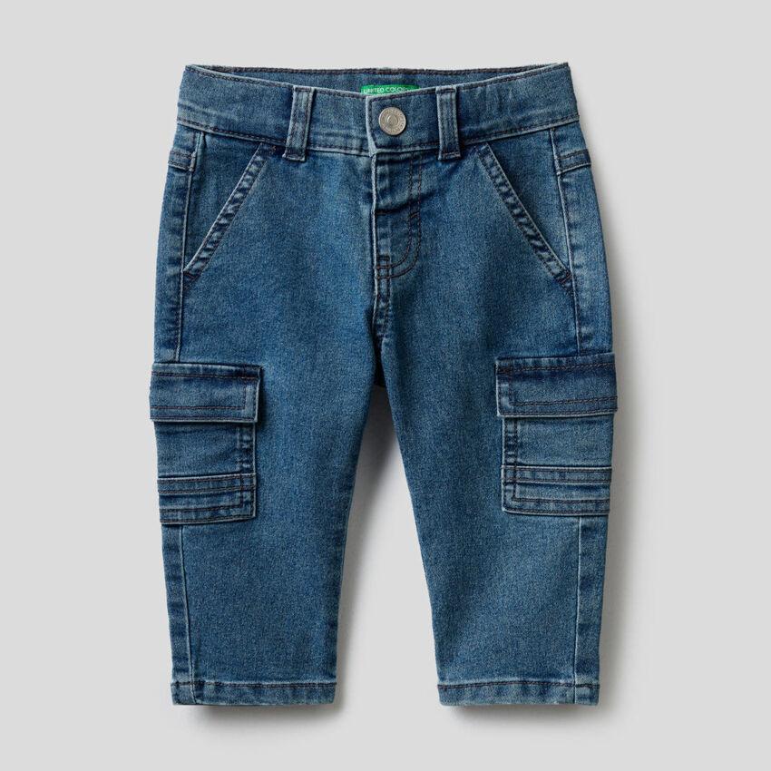 Stretch denim cargo trousers