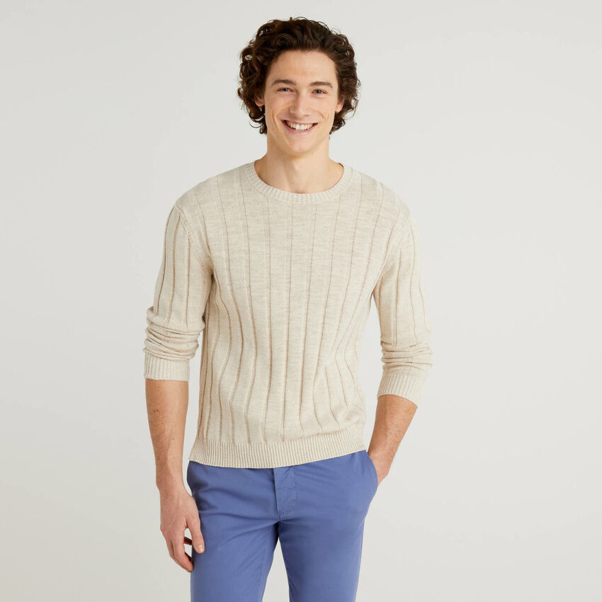 Ribbed sweater in linen blend cotton