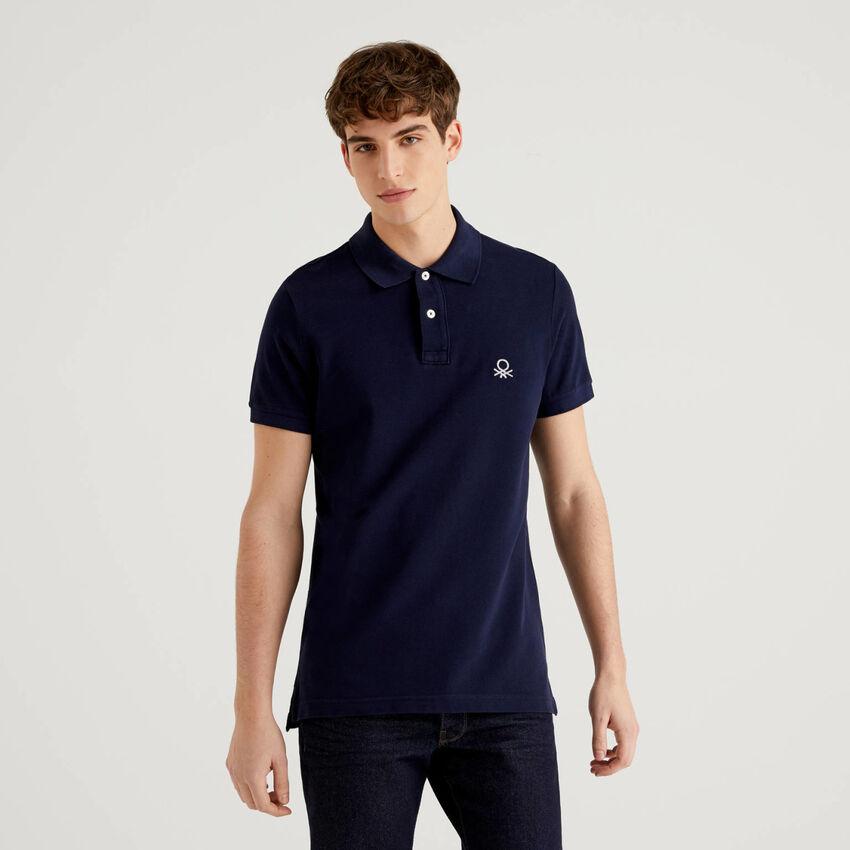 Dark blue slim fit polo