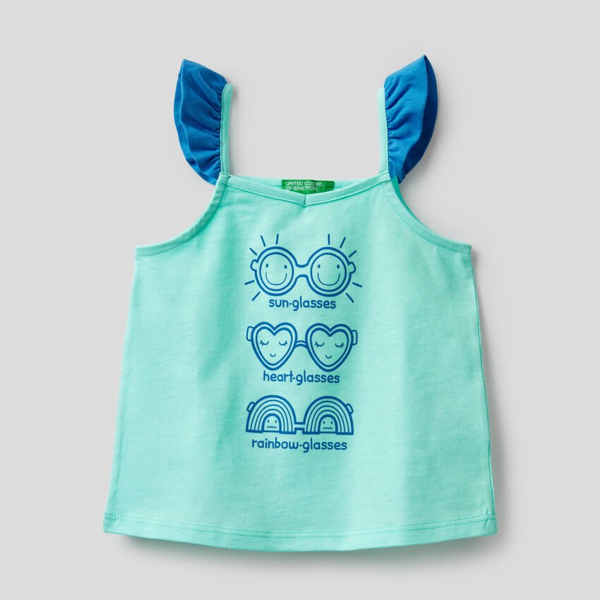 Top with print and small frills