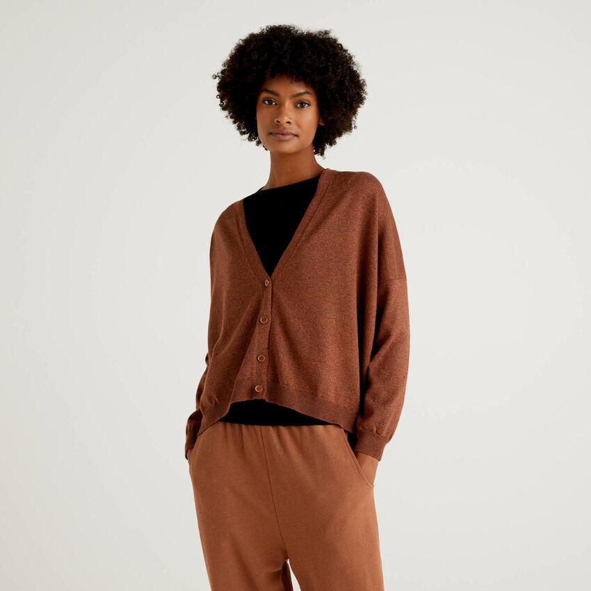 V-neck cardigan in wool blend