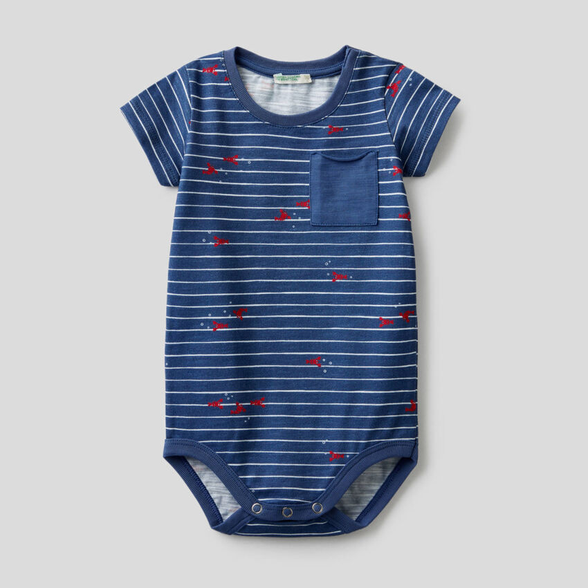 Air force blue bodysuit with pocket