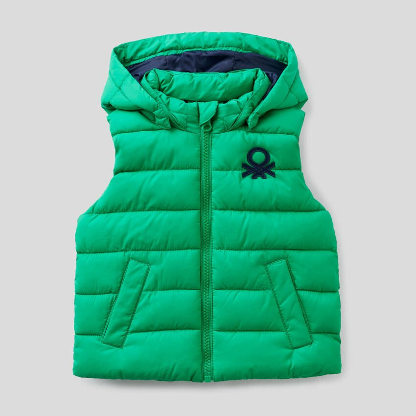 Padded vest with removable hood