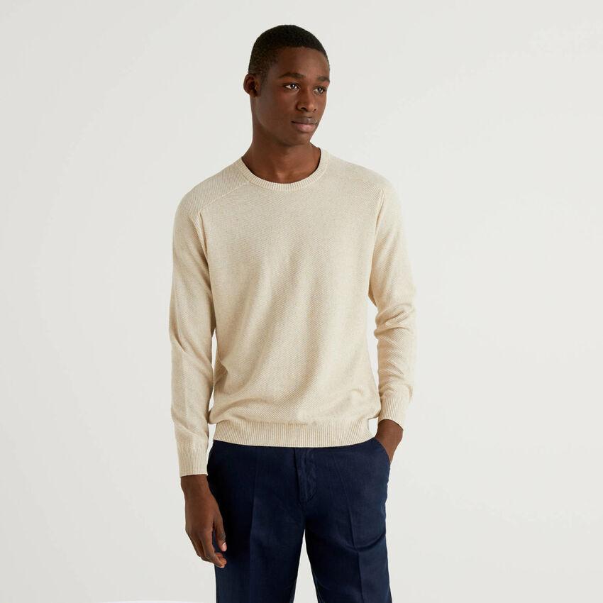 Sweater in linen blend cotton