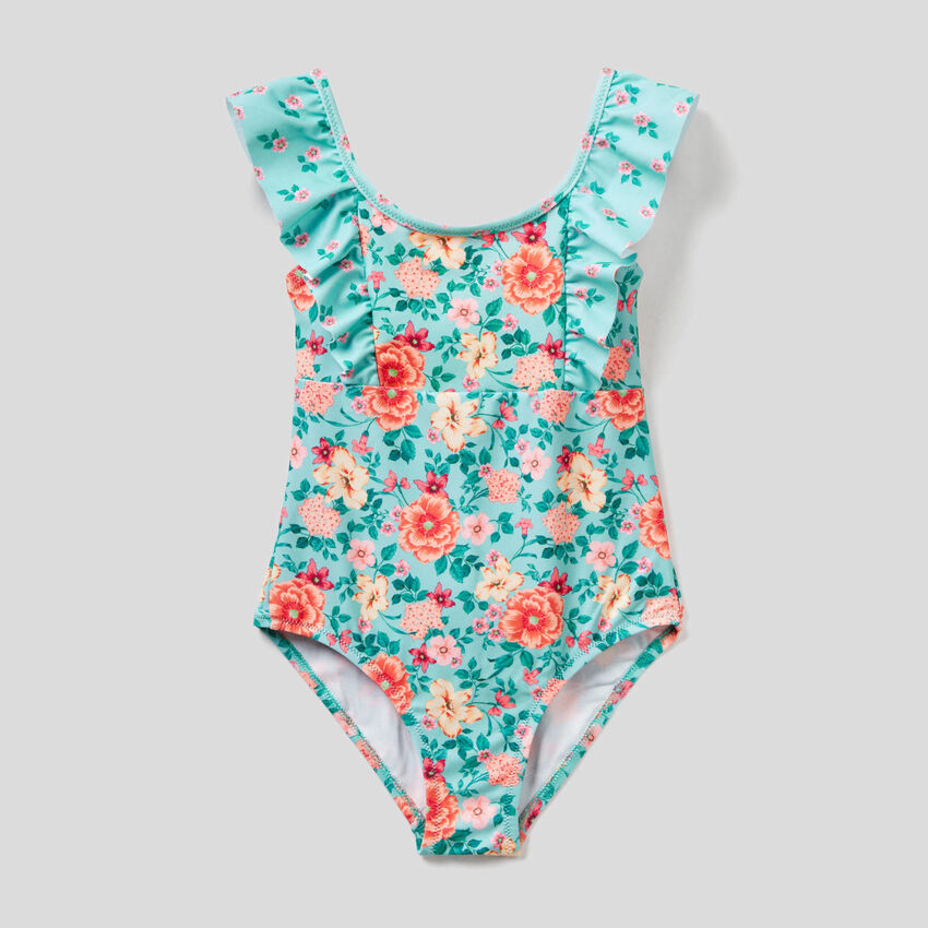 One-piece floral print swimsuit