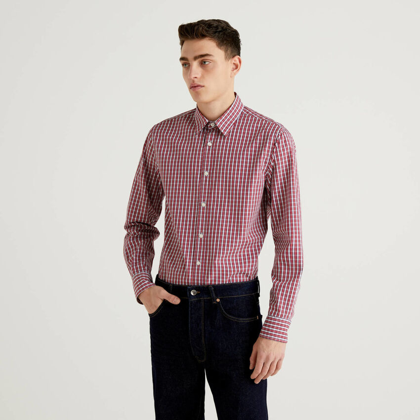 Slim fit shirt in yard dyed cotton
