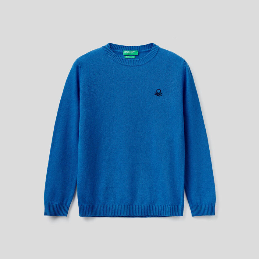 Sweater in cashmere and wool blend